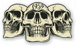 Vintage Biker 3 Gothic Skulls Year Dated Skull 1959 Cafe Racer Helmet Vinyl Car Sticker 120x70mm
